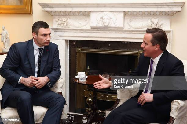 Leader of the Ukrainian Democratic Alliance for Reform party Vitaly Klitschko speaks with British Prime Minister David Cameron at Downing Street on...