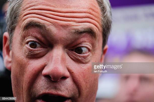 Leader of the United Kingdom Independence Party Nigel Farage arrives in his battle bus as he campaigns for votes to leave the European Union on May...