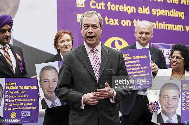 Leader of the United Kingdom Independence Party Nigel Farage announces his party's key election pledges during a photocall in central London on March...