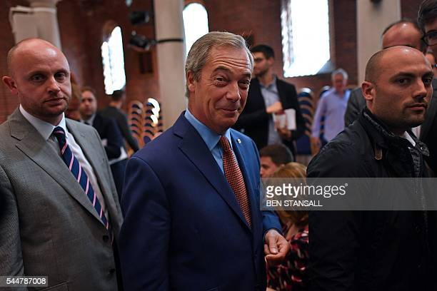 Leader of the United Kingdom Independence Party Nigel Farage leaves after making a speech in London on July 4 announcing that he was stepping down as...