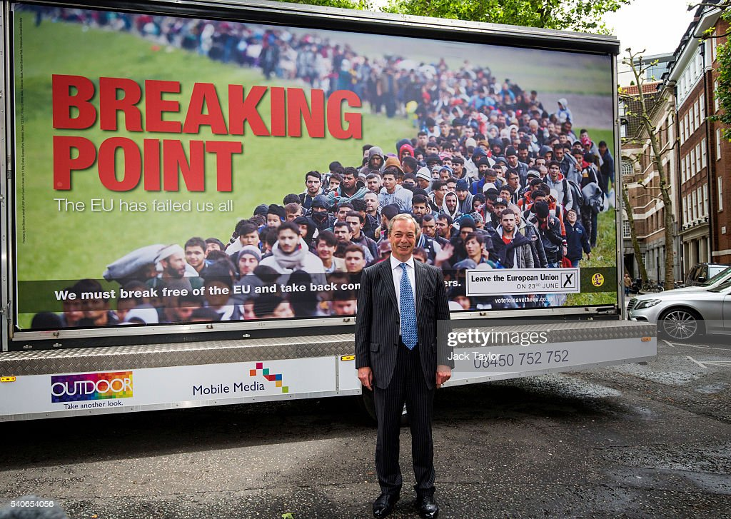 Nigel Farage Launches UKIP's New EU Referendum Poster Campain : News Photo