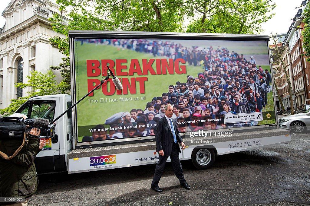 Nigel Farage Launches UKIP's New EU Referendum Poster Campain : News Photo