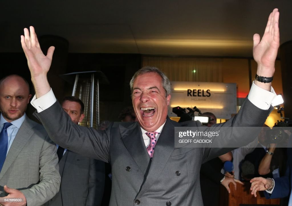Leader of the United Kingdom Independence Party (UKIP), Nigel Farage reacts at the Leave.EU referendum party at Millbank Tower in central London on June 24, 2016, as results indicate that it looks likely the UK will leave the European Union (EU). Top anti-EU campaigner Nigel Farage said he was increasingly confident of victory in Britain's EU referendum on Friday, voicing hope that the result 'brings down' the European Union. /