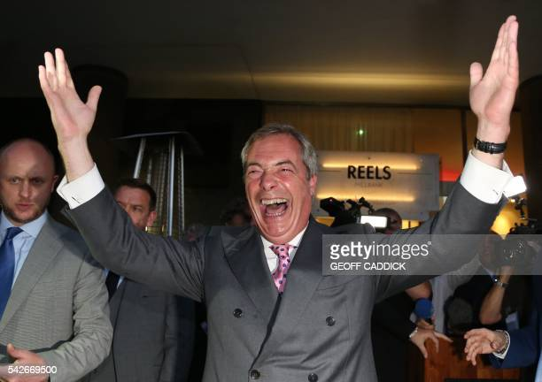 Leader of the United Kingdom Independence Party Nigel Farage reacts at the LeaveEU referendum party at Millbank Tower in central London on June 24 as...