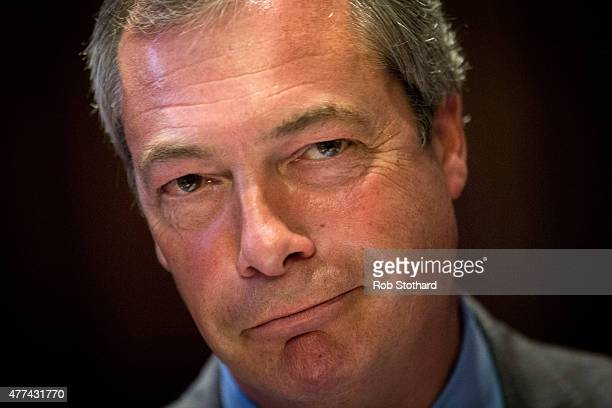 Leader of the United Kingdom Independence Party Nigel Farage speaks at the launch of a new publication 'The Truth About Trade Beyond The EU' on June...