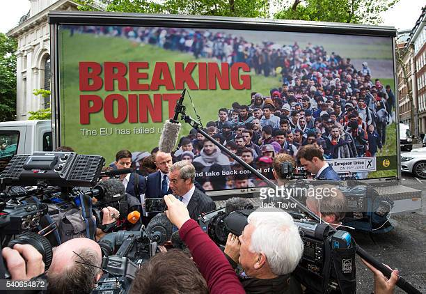 Leader of the United Kingdom Independence Party Nigel Farage speaks to the media as he launches the party's new EU referendum poster in Westminster...