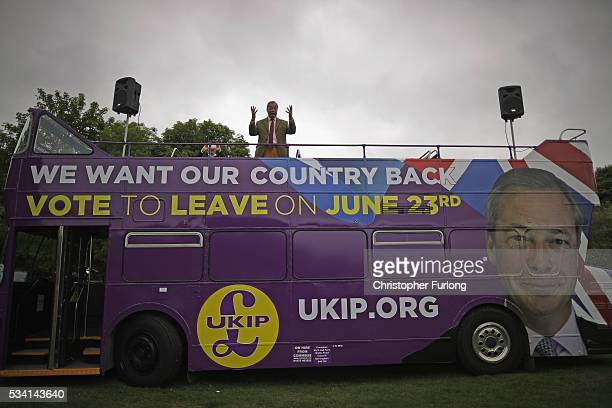 Leader of the United Kingdom Independence Party Nigel Farage travels on his battle bus as he campaigns for votes to leave the European Union on May...