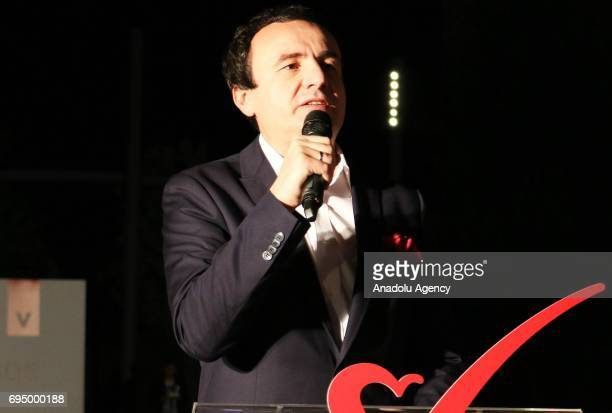 Leader of the Vetevendosje party Albin Kurti speaks during the celebrations of their success according to informal results of 90 percent of the votes...