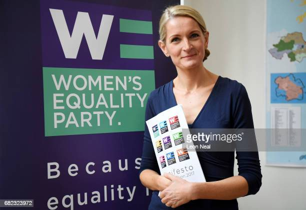 Leader of the Women's Equality Party Sophie Walker holds a copy of the party's Election manifesto during the launch at the party's headquarters on...