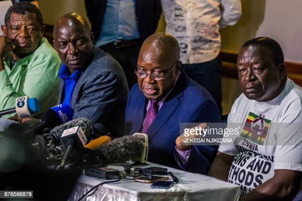 Leader of the Zimbabwe's War Veterans Association Christopher Mutsvangwa speaks during a press conference in Harare where he called again for...