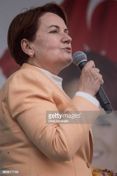 Leader of Turkey's Iyi Party and presidential candidate Meral Aksener speaks to supporters at a rally on June 1 2018 in Antakya Turkey Meral Aksener...
