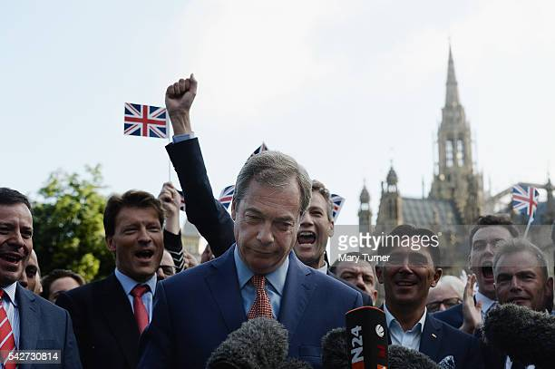 Leader of UKIP and Vote Leave campaign Nigel Farage arrives to speak to the assembled media at College Green Westminster following the results of the...