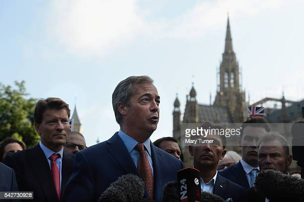 Leader of UKIP and Vote Leave campaign Nigel Farage speaks to the assembled media at College Green Westminster following the results of the EU...