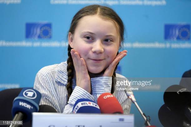 """Leader of """"Youth for Climat"""" Greta Thunberg gives a Press Conference about Climate change after addressing the European Commission on February 21,..."""
