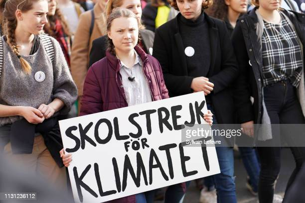 Leader of Youth for Climate Greta Thunberg attends Youth for climate march on February 21 2019 in Brussels Belgium An average of 10000 young people...