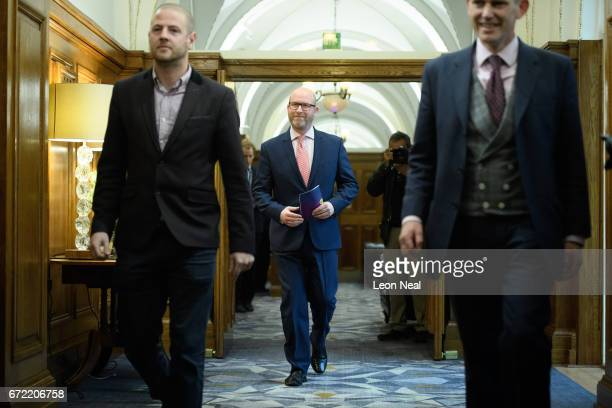 UKIP leader Paul Nuttall arrives walks along a corridor ahead of a policy launch event at the County Hall on April 24 2017 in London England During...