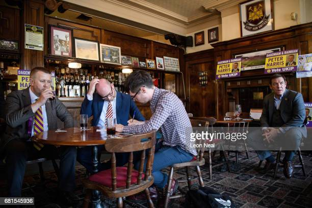 Leader Paul Nuttall is interviewed by members of the media on May 10, 2017 in Dagenham, England. Following disappointing results in last week's local...