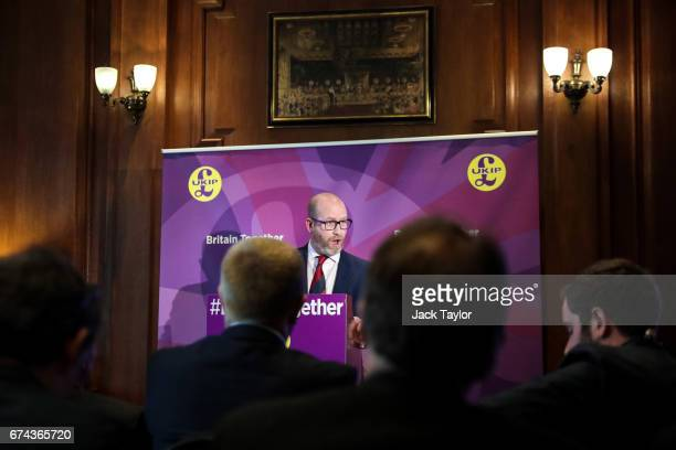 Leader Paul Nuttall makes a speech as the party launch their general election campaign at the Marriott County Hall Hotel in Westminster on April 28...