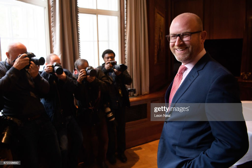 UKIP leader Paul Nuttall poses for photographs ahead of a policy launch event at the County Hall on April 24, 2017 in London, England. During the press conference, Deputy Leader Peter Whittle announced that the party will call for a ban on the wearing of the traditional burqa headscarf and outlaw Sharia courts.