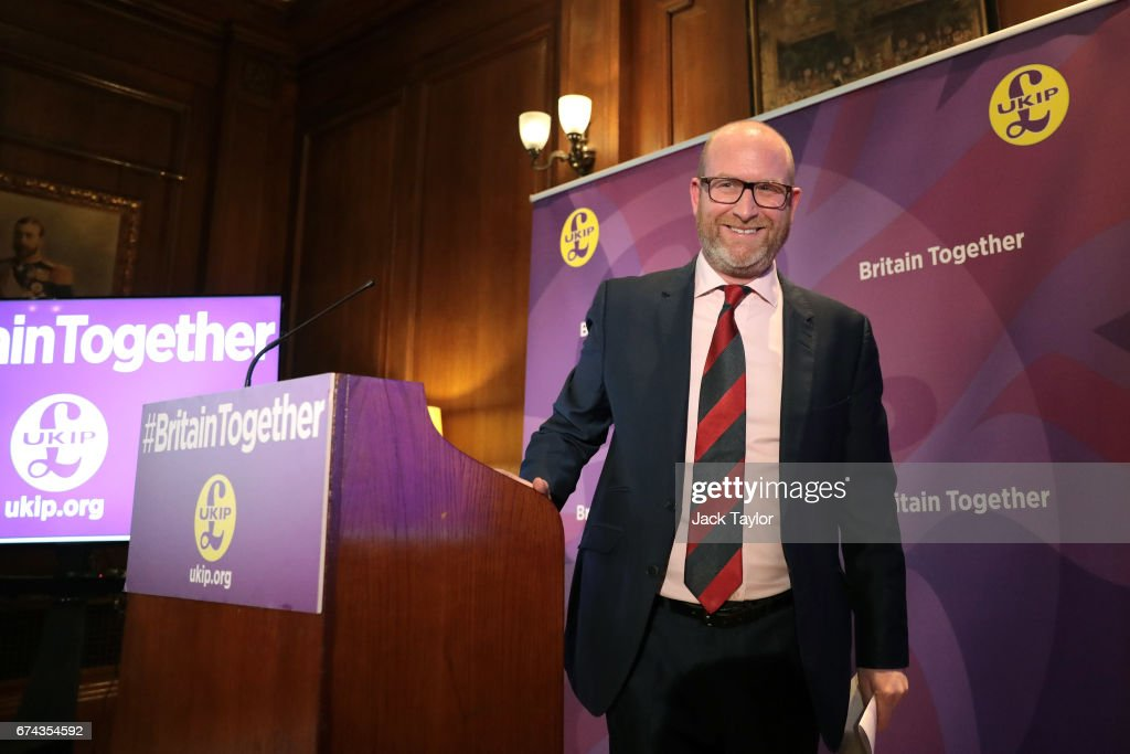 Leader Paul Nuttall smiles after delivering his speech as the party launch their general election campaign at the Marriott County Hall Hotel on April 28, 2017 in London, England. Britain is to go to the polls on June 8, after British Prime Minister Theresa May called for a snap general election.