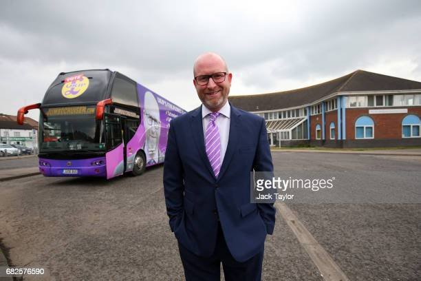 Leader Paul Nuttall smiles as he poses by the UKIP campaign bus on May 13 2017 in Boston England UKIP Leader Paul Nuttall has chosen to stand in the...