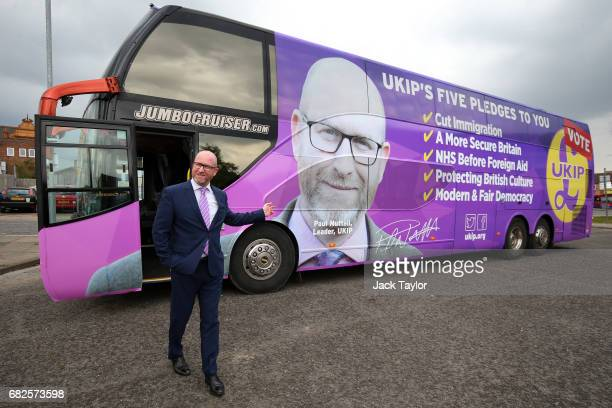 Leader Paul Nuttall smiles as he steps off the UKIP campaign bus on May 13 2017 in Boston England UKIP Leader Paul Nuttall has chosen to stand in the...