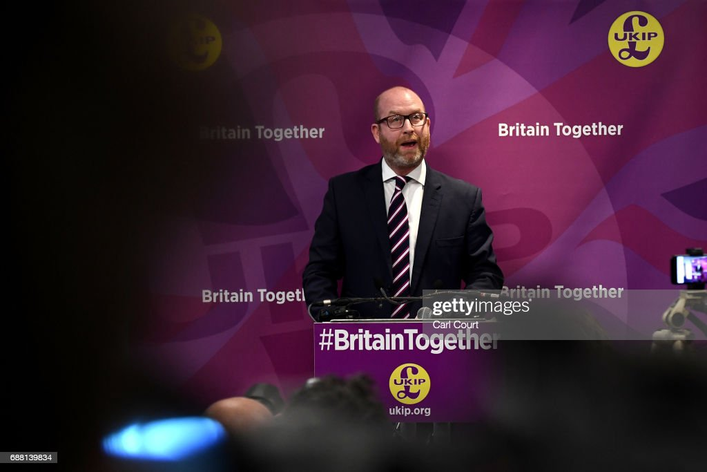 UKIP leader Paul Nuttall speaks at the launch of his party's manifesto launch ahead of the general election, on May 25, 2017 in London, England. Among other pledges, Mr Nuttall said UKIP would bolster national security by increasing numbers of police officers, troops and border guards.