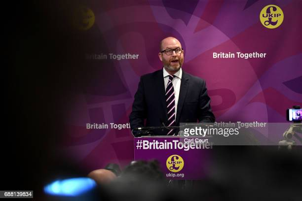 UKIP leader Paul Nuttall speaks at the launch of his party's manifesto launch ahead of the general election on May 25 2017 in London England Among...