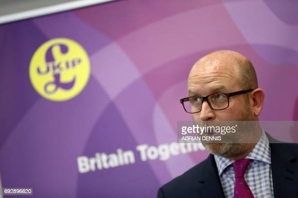 UKIP leader Paul Nuttall speaks during a campaign event at Westminster in London on June 6 ahead of the upcoming general election / AFP PHOTO /...