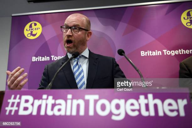 Leader Paul Nuttall speaks during a press conference on May 8, 2017 in London, England. Mr Nuttall unveiled the Party's immigration policy ahead of...
