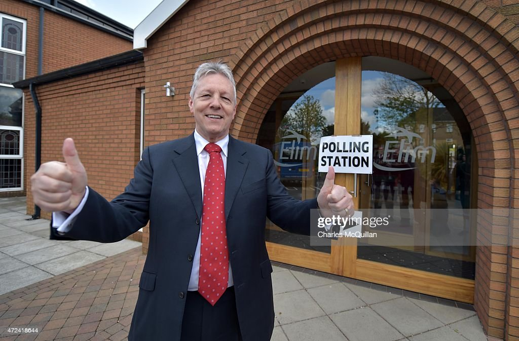 Peter Robinson Casts His Vote As The UK Goes To The Polls : News Photo