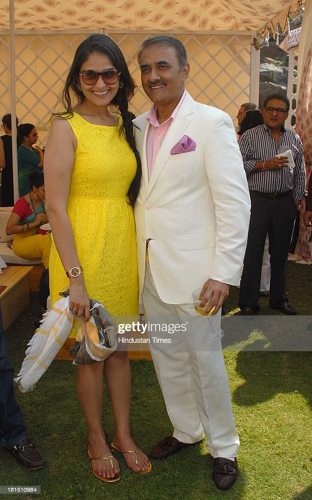 NCP leader Praful Patel with his daughter Poorna during Third Cartier Travel With Style Concours D'Elegance Vintage car show at 2013 Taj Lands End on February 10, 2013 in Mumbai, India.