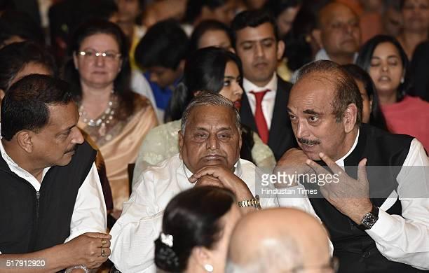 BJP leader Rajiv Pratap Rudy SP leader Mulayam Singh Yadav and Congress leader Ghulam Nabi Azad during the Padma Awards Investiture ceremony at...