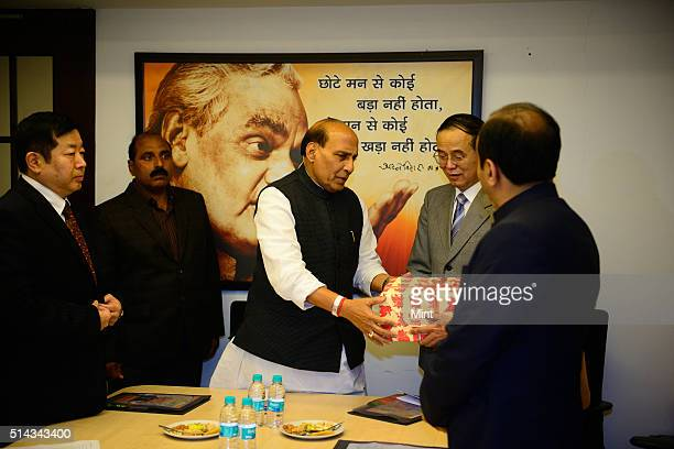 Leader Rajnath Singh meeting a delegation led by China Vice Minister Mr. Ai Ping on February 19, 2014 in New Delhi, India.