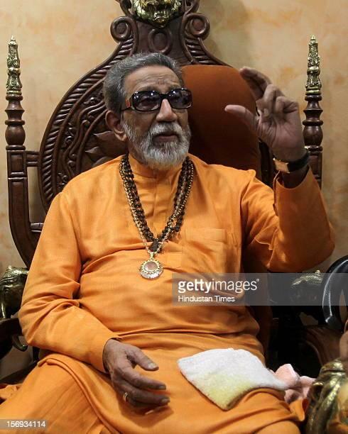 Leader Ramdas Athavale met Shiv Sena Chief Balasaheb Thackeray at his residence matoshree at Bandra on May 9 2011 in Mumbai India