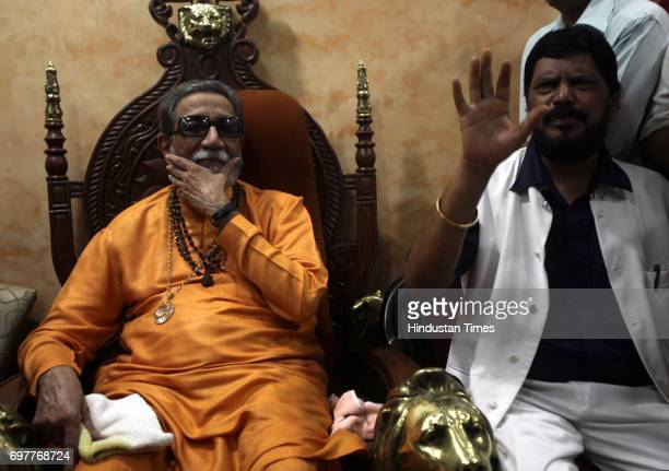 Leader Ramdas Athavale met Shiv Sena Chief Balasaheb Thackeray at his residence matoshree at Bandra in Mumbai