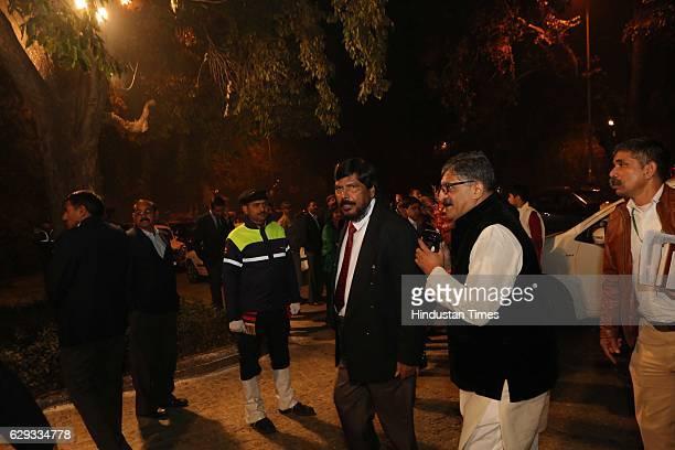 RPI leader Ramdas Bandu Athawale at the wedding reception of Union Minister Nitin Gadkari's daughter Ketki and Aditya Kaskhedikar on December 8 2016...