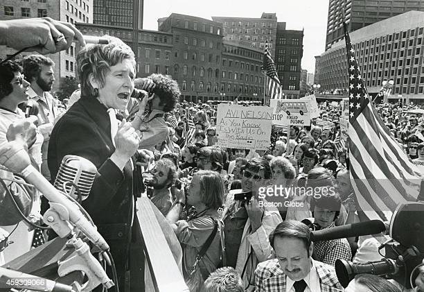 leader Rita Graul speaks at an antibusing rally at City Hall Plaza in Boston on Sept 7 1975 An initiative to desegregate Boston Public Schools was...