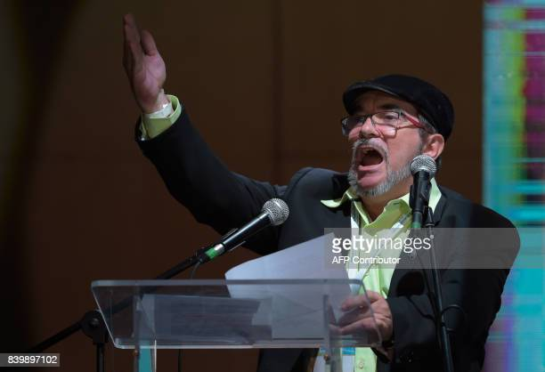 FARC leader Rodrigo Londono Echeverri known as 'Timochenko' speaks during the opening of their National Congress in Bogota on August 27 2017...