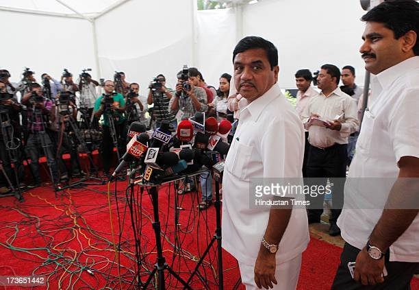 NCP leader RR Patil and Satej Patil interacting with media on Dance Bar issue outside Vidhan Bhavan during Mosoon Assembly session on July 16 2013 in...