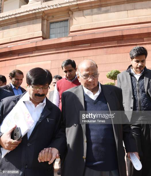 NCP leader Sharad Pawar at first day of Budget Session of Parliament House on January 29 2018 in New Delhi India The Budget Session kickstarted on...