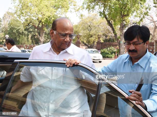 Leader Sharad Pawar at Parliament House on March 13 2018 in New Delhi India