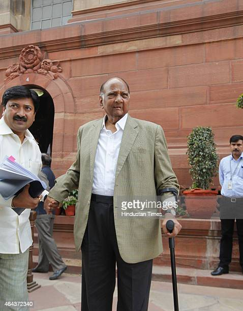 Leader Sharad Pawar at the Parliament House during Budget session on February 25 2015 in New Delhi India After introducing the controversial Land...