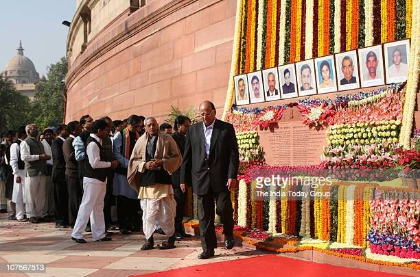 NCP leader Sharad Pawar walks out after paying homage to the martyrs who died during the terror attack on Parliament in 2001