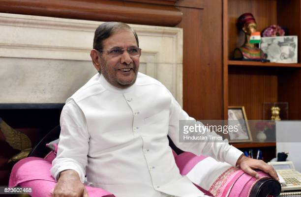 JDU leader Sharad Yadav after meeting with party MPs Veerendra Kumar and Ali Anwar at his residence on July 27 2017 in New Delhi India Nitish Kumar...