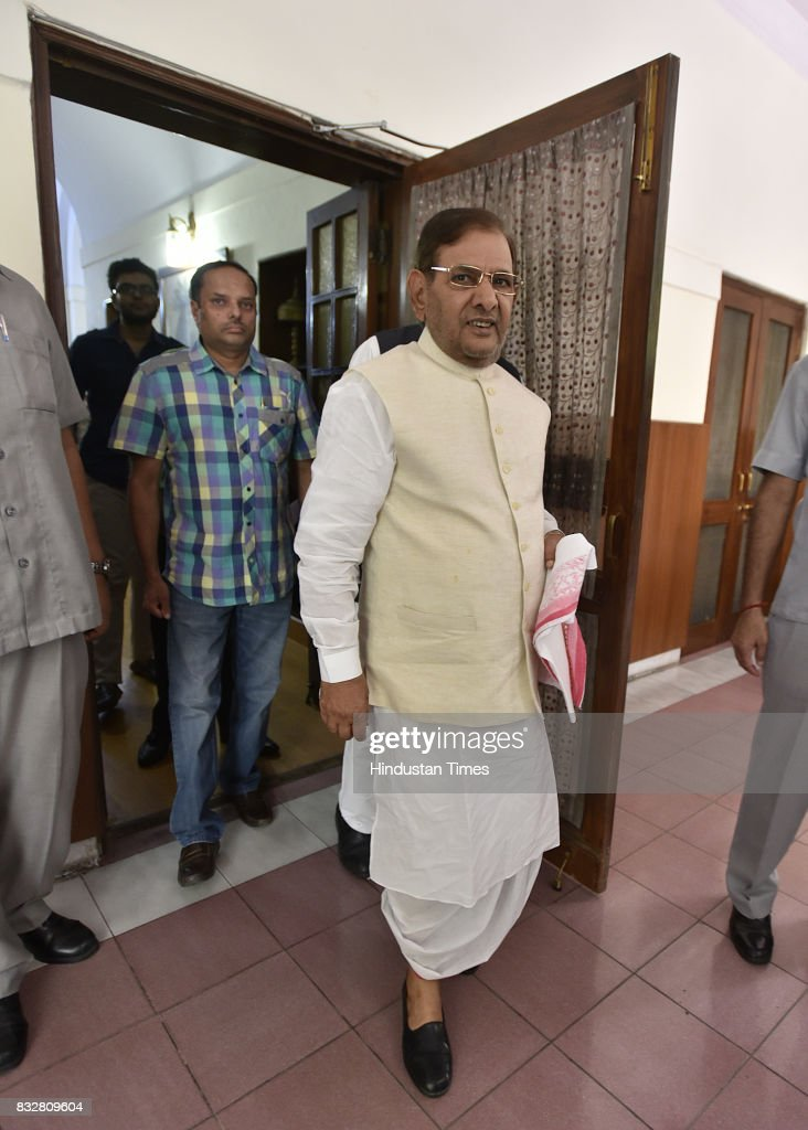 JDU leader Sharad Yadav during a press conference at his residence on August 16, 2017 in New Delhi, India. Veteran leader Sharad Yadav will stage a show of strength tomorrow, collecting leaders from a range of parties including the Congress and the Left in the run-up to the Janata Dal (United) joining the BJP-led NDA government at the Centre, and pushing for the much-awaited special package for Bihar from the Modi government.