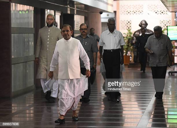 JDU leader Sharad Yadav National Secretary of CPI D Raja NCP leader Tariq Anwar All India MajliseIttehadul Muslimeen leader Asaduddin Owaisi after...