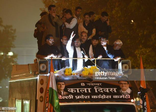JDU leader Sharad Yadav with Leader of opposition in Rajya Sabha and Senior Congress leader Ghulam Nabi Azad and DPCC President Ajay Makan address...