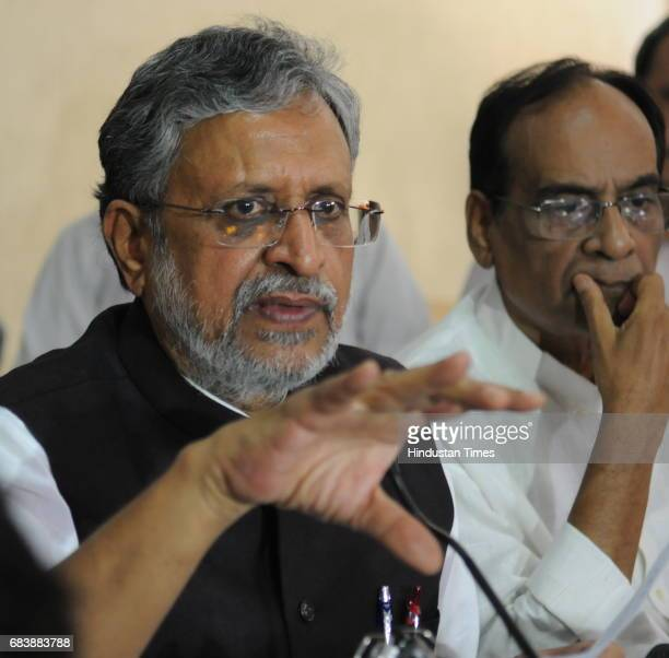 BJP leader Shushil Modi at a press conference regarding IT raids on Lalu Prasad Yadav and his associates on May 16 2017 in Patna India The Income Tax...