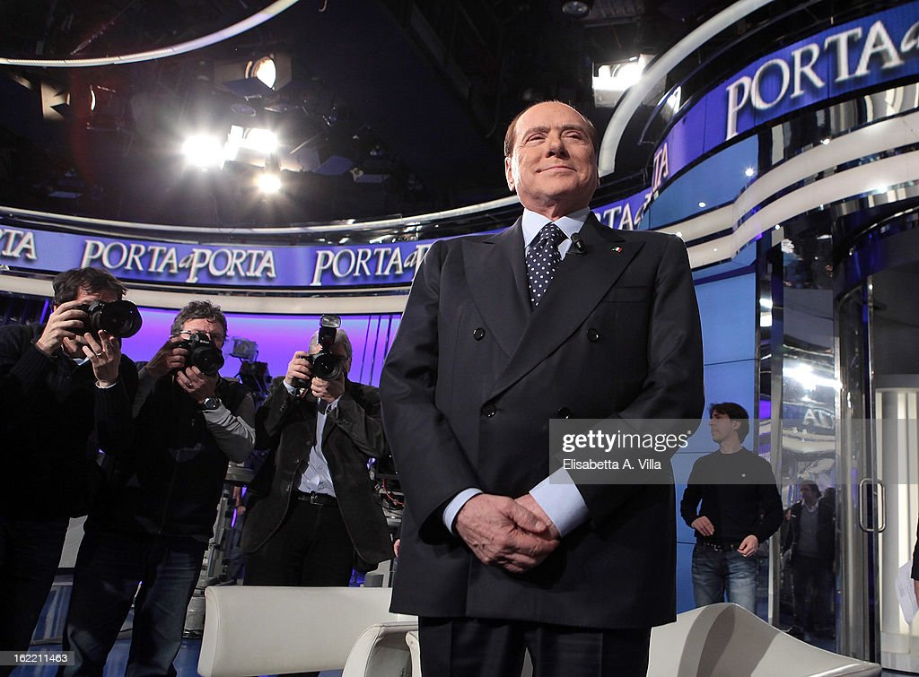 Leader Silvio Berlusconi attends 'Porta A Porta' TV Show on February 20, 2013 in Rome, Italy. The premier candidate Berlusconi continues his campaign for the upcoming general elections that takes place on February 24th and 25th.